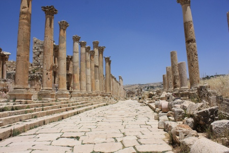 Roman ruins in Jerash, Jordan. The ancient city of Jerash, one of the most well preserved Greco-Roman cities in the world, boasts an unbroken chain of human occupation dating back more than 6,500 years. Photo by jemasmith