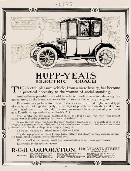 By 1912 the R-C-H Corporation was listed as the manufacturer. R. C. Hupp had left the Hupp Corporation and started a new company to make R-C-H cars and to continue production of the Hupp-Yeats electric coaches. Photo by aldenjewell