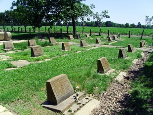 Grave sites at Rohwer Memorial Cemetery Photograph by Brandonrush, 2014, Wikimedia
